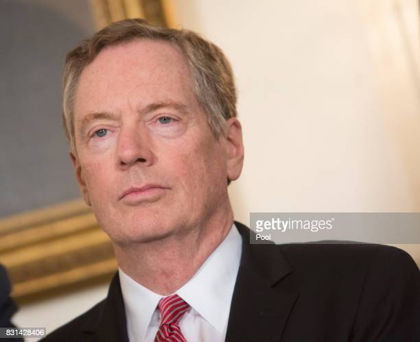 US Trade Representative Robert Lighthizer attends a signing of a memorandum on addressing China's laws policies practices and actions related to...