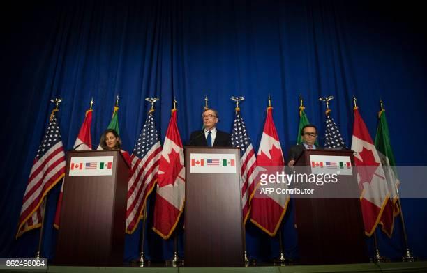 US Trade Representative Robert Lighthizer Canadian Foreign Minister Chrystia Freeland and Mexican Secretary of Economy Ildefonso Guajardo Villarreal...