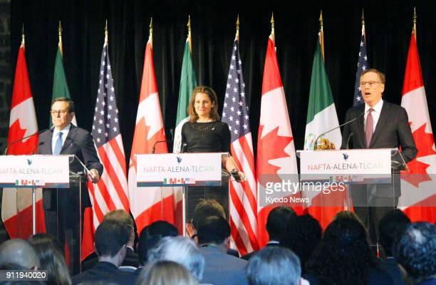 US Trade Representative Robert Lighthizer Canadian Foreign Minister Chrystia Freeland and Mexico's Secretary of Economy Ildefonso Guajardo Villarreal...
