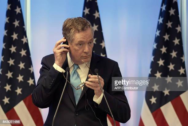 US Trade Representative Robert Lighthizer listens during a press conference on the last day of the second round of talks of the North American Free...