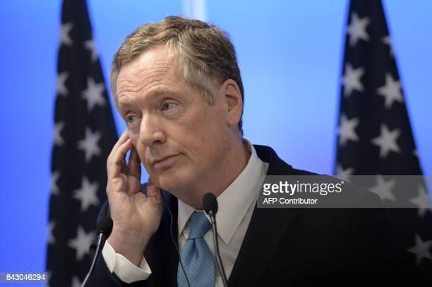 US Trade Representative Robert Lighthizer listens to a question during a press conference on the third and last day of the second round talks of the...