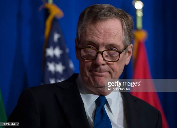 US Trade Representative Robert Lighthizer looks on during a press conference at the conclusion of the fourth round of negotiations for a new North...