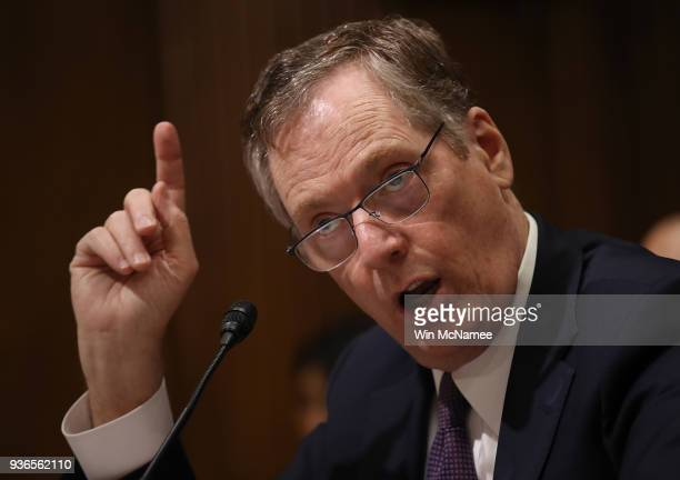 S Trade Representative Robert Lighthizer testifies before the Senate Finance Committee March 22 2018 in Washington DC The committee heard testimony...