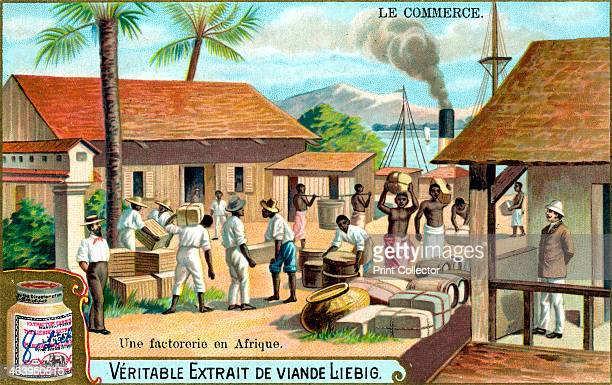 trading post in Africa c1900 Colonial trading post French advertisement for Liebig's extract of meat