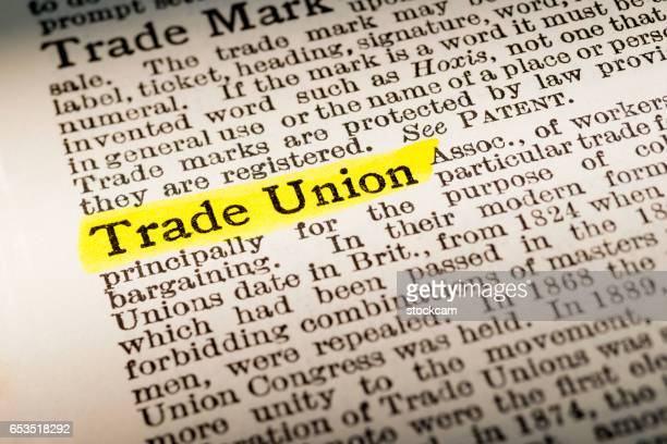 trade union - dictionary definition highlighted - labor union stock photos and pictures