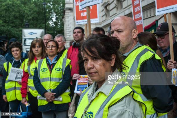 PCS trade union members on their picket line outside the the Foreign and Commonwealth Office in Westminster on June 12 2019 in London England...