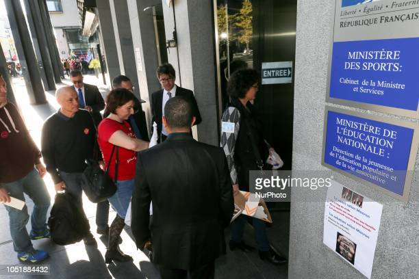 Trade union representatives are received by the French Ministry of sports as they gather in front of the offices of the Ministry in Paris on October...