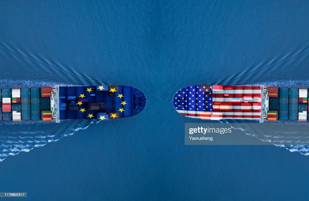 Trade war between EU and USA,concept photo : Stock Photo
