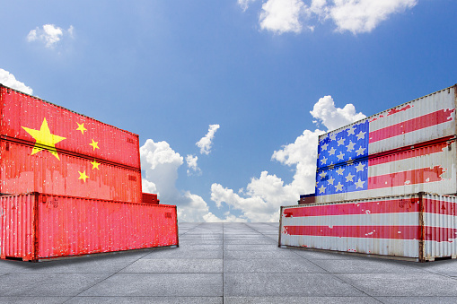 Trade warfare, export and import, tariffs, cargo containers, China and the United States 987983000