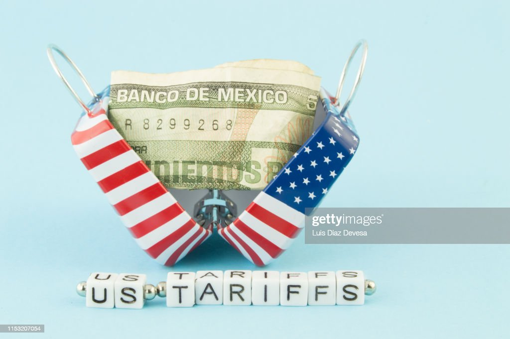 Trade Wars with US  and MEXICO. US Tariffs : Stock Photo