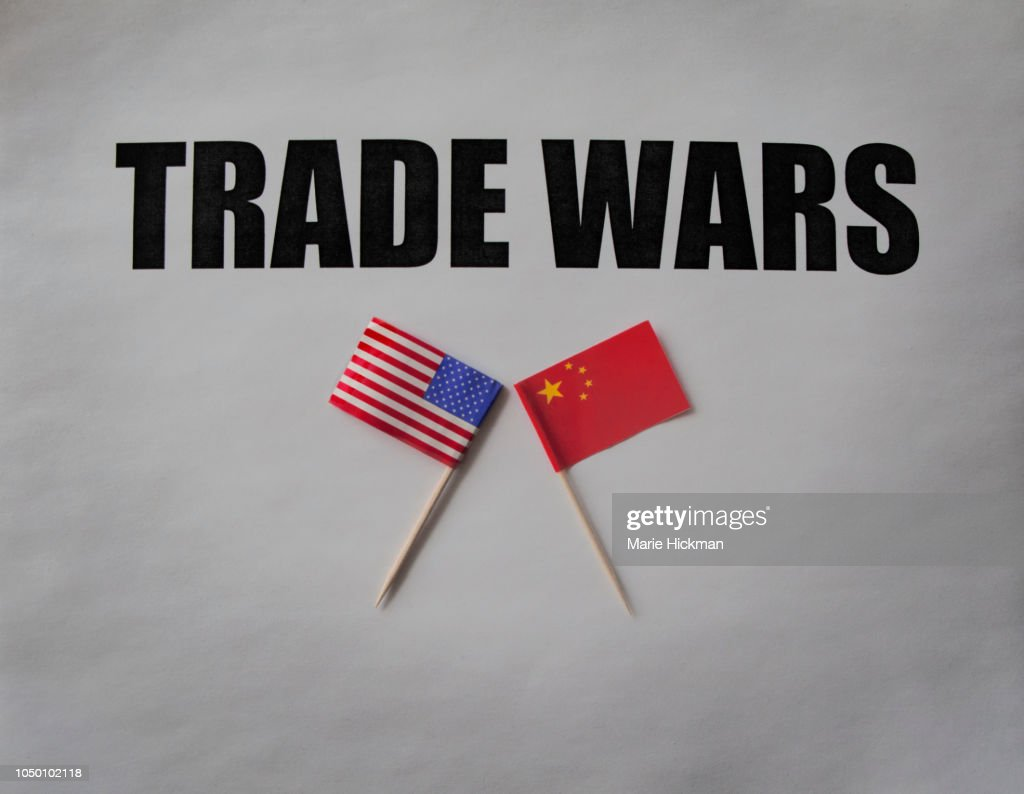 Trade Wars with U.S FLAG and CHINESE FLAG. : Stock Photo