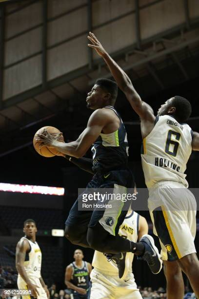 TraDeon Hollins battles Wes Washpun of the Fort Wayne Mad Ants of the Iowa Wolves on February 25 2018 at Memorial Coliseum in Fort Wayne Indiana NOTE...