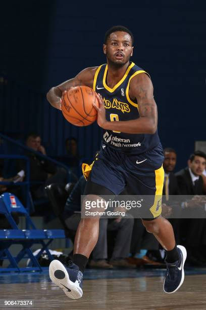 TraDeon Hollins of the Fort Wayne Mad Ants handles the ball against the Delaware 87ers during a GLeague at the Bob Carpenter Center in Newark...