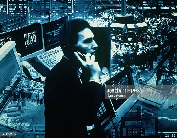 Trader at stock exchange (Blue Toned, Digital Composite)