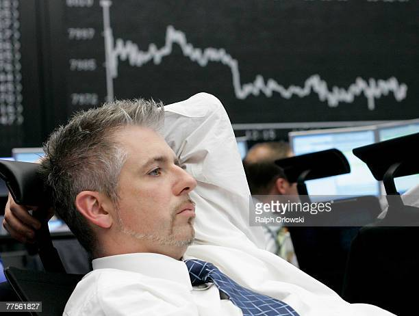 Trader Dirk Mueller attends a trading session on the floor of Frankfurt stock exchange on October 30 2007 in Frankfurt Germany German DAX Index fell...