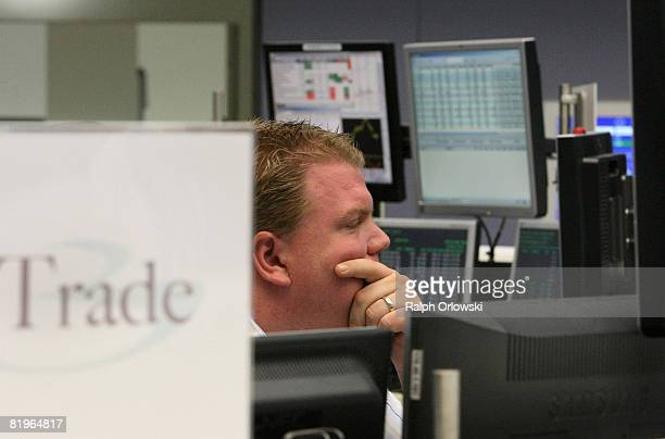A trader looks on during a trading session on the trading floor of Frankfurt stock exchange July 17 2008 in Frankfurt Germany Today the Dax Index...