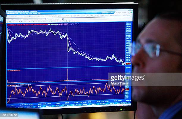 A trader looks on in front of a chart showing the downward trend of the Dow Jones Industrial Average at the New York Stock Exchange at the end of the...