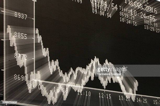 A trader looks up at the board displaying the day's course of the DAX stock market index at the Frankfurt Stock Exchange on February 11 2016 in...