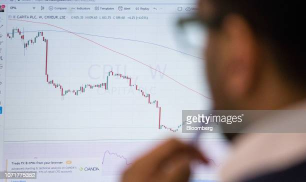 Trader monitors financial data, including a chart of the Capita Plc share price, on computer screens on the trading floor at ETX Capital, a broker of...
