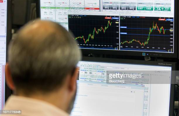 Trader monitors financial data, including charts of the British pound Euro price, left, and the British pound U.S. Dollar price on computer screens...