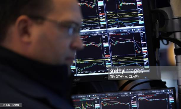 A trader reacts as he works on the floor during the opening bell on the New York Stock Exchange on March 9 2020 in New York Trading on Wall Street...