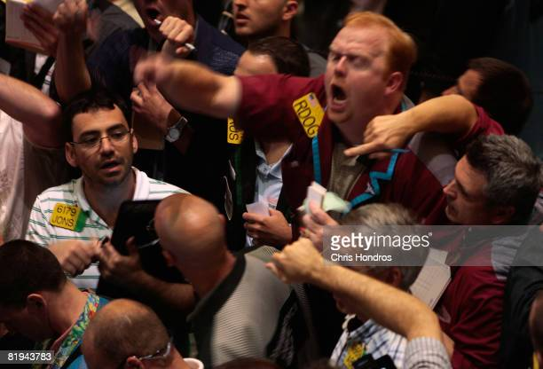 A trader shouts in the oil futures pit of the New York Mercantile Exchange July 15 2008 in New York City Oil prices were lower July 15 as OPEC warned...