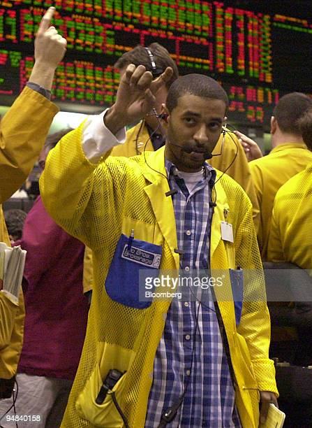 A trader work in the Eurodollar pit of the Chicago Mercantile Exchange in Chicago Illinois during the announcement that the benchmark US interest...