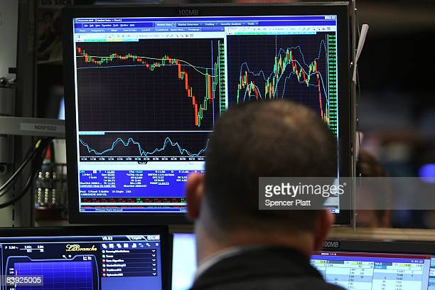 A trader works on the floor of the New York Stock Exchange during early trading December 5 2008 in New York City Stocks fell sharply in early trading...