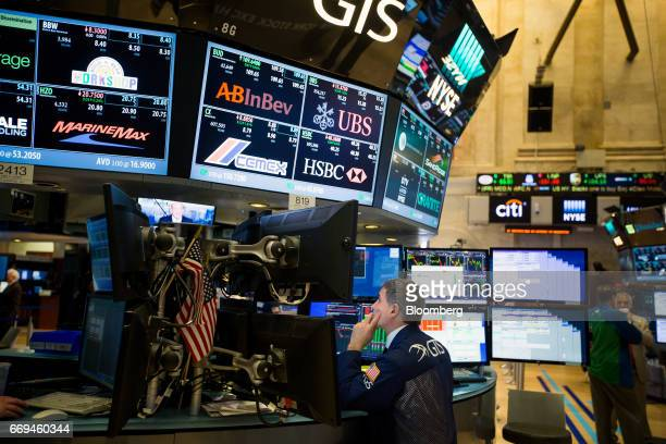 A trader works on the floor of the New York Stock Exchange in New York US on Monday April 17 2017 US stocks rebounded from a weekly slide while the...