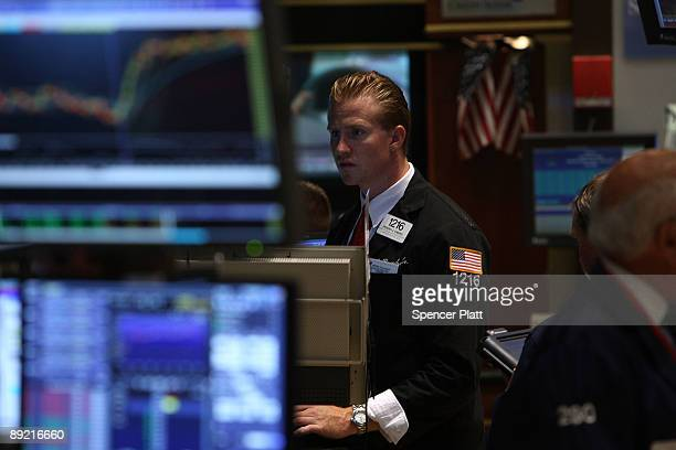 A trader works on the floor of the New York Stock Exchange on July 23 2009 in New York New York As positive economic news continued to emerge the Dow...