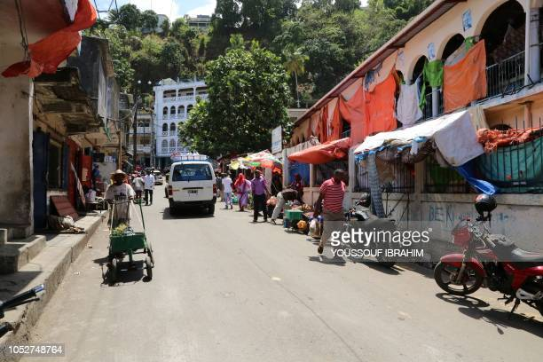 Traders and vendors work at the Market of Mutsamudu on the Comoros island of Anjouan on October 22 2018 Residents on the Comoros island of Anjouan...