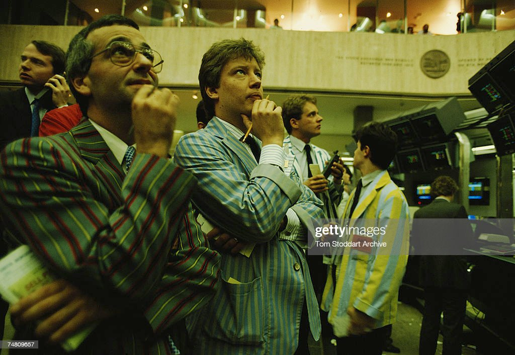 Traders at the London Stock Exchange, May 1988.