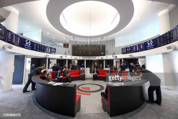 Traders, brokers and clerks work on the trading floor of the open outcry pit at the London Metal Exchange at Finsbury Square in London, U.K in...