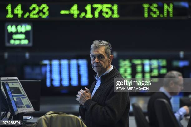 Traders look at screen at the Buenos Aires Stock Exchange on June 18 2018 The Buenos Aires Stock Exchange plunged 655 percent Monday pulled down by...