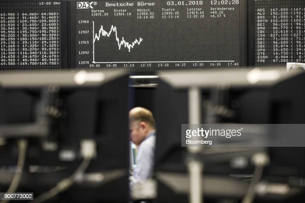 Traders monitor financial data as the second iteration of the Markets in Financial Instruments Directive comes into force as the DAX Index curve is...