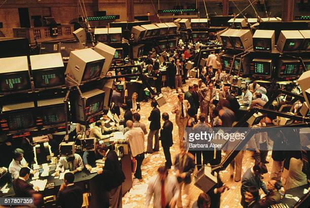 Traders on the floor at the New York Stock Exchange New York City USA 2nd June 1981
