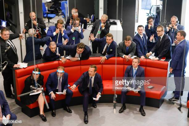 Traders on the trading floor of the open outcry pit at the London Metal Exchange Ltd. In London, U.K., on Monday, Sept. 6, 2021. After 18 months...