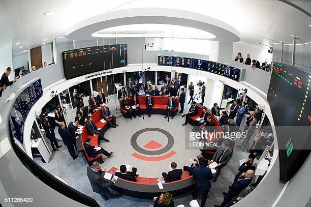 Traders operate in the Ring the open trading floor of the new London Metal Exchange in central London on February 18 2016 The Ring has provided a...