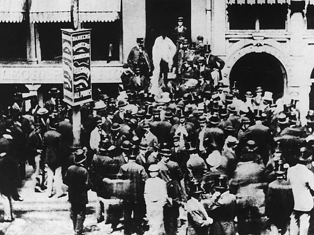 Traders outside the New York Stock Exchange, 1863.