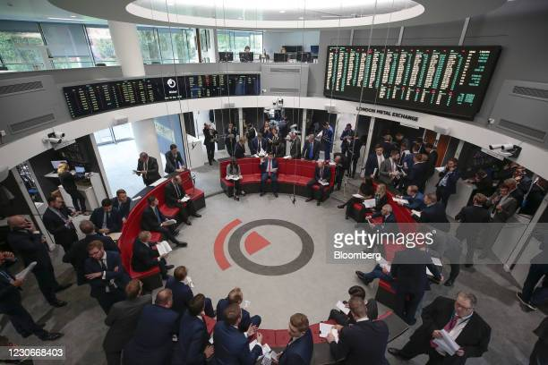 Traders react on the trading floor of the open outcry pit at the London Metal Exchange Ltd. At Finsbury Square in London, U.K. On Wednesday, Sept....