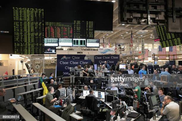 Traders trade VIX contracts at the Cboe Global Markets exchange on December 19 2017 in Chicago Illinois Last week the exchange became the first in...