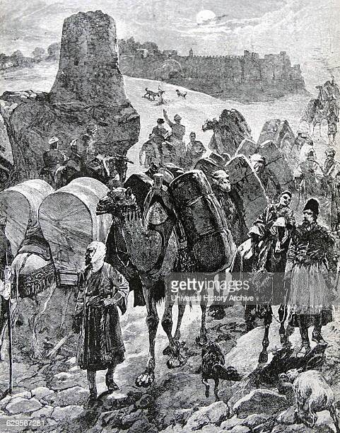 Traders with camels crossing through the Silk Road which linked China to Europe allowing the entry of Silk and other commodities c1850
