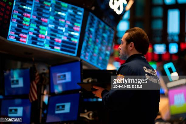 Traders work during the opening bell at the New York Stock Exchange on February 27 2020 at Wall Street in New York City Wall Street stocks opened...