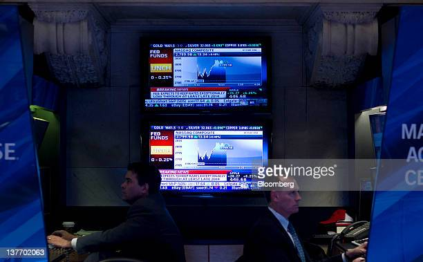Traders work during the US Federal Reserve Federal Open Market Committee rate decision on the floor of the New York Stock Exchange in New York US on...