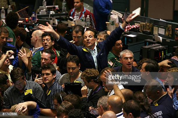 Traders work in the energy options pit at the New York Mercantile Exchange on June 27 2008 in New York City Rising to above $142 a barrel today crude...