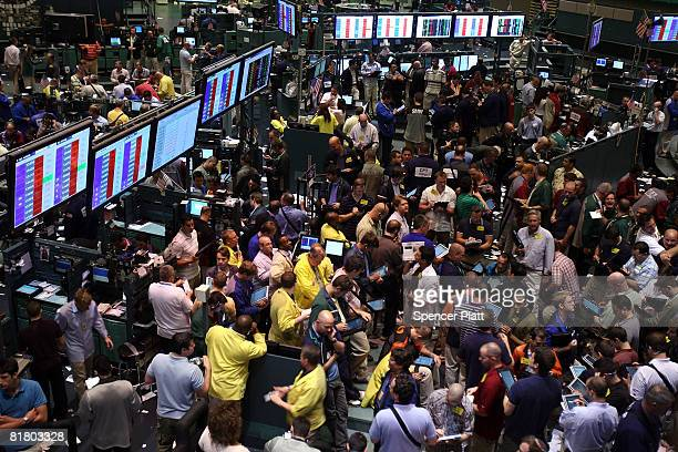 Traders work in the energy options pit on the floor of the New York Mercantile Exchange July 2 2008 in New York City Oil prices rose to a new high of...