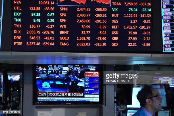 Traders work on the floor at the closing bell of the Dow Industrial Average at the New York Stock Exchange on March 12 2020 in New York The Dow...
