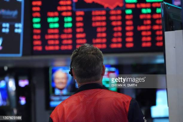 Traders work on the floor at the closing bell of the Dow Industrial Average at the New York Stock Exchange on March 18 2020 in New York Wall Street...