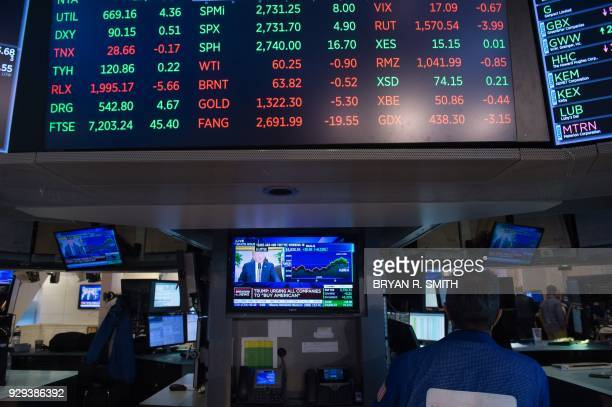 TOPSHOT Traders work on the floor at the closing bell of the Dow Industrial Average at the New York Stock Exchange on March 8 2018 in New York US...
