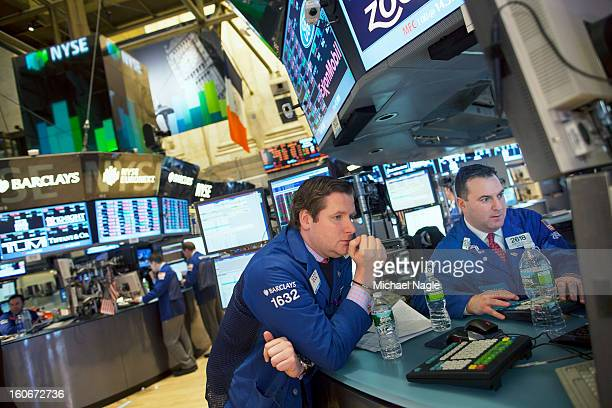 Traders work on the floor of the New York Stock Exchange at the end of the trading day on February 4 2013 in New York City Stocks dropped sharply...